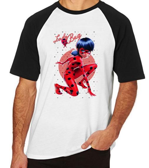 Camiseta Luxo Ladybug Corações Aventuras Menina Girl Heroi