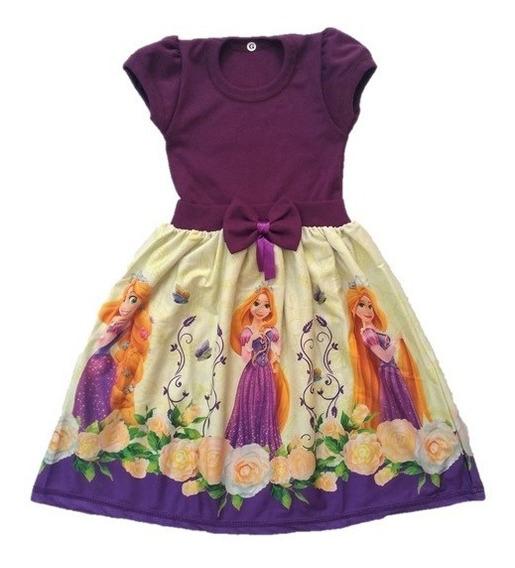Vestido Infantil Enrolados Rapunzel Malha Roupa/fantasia