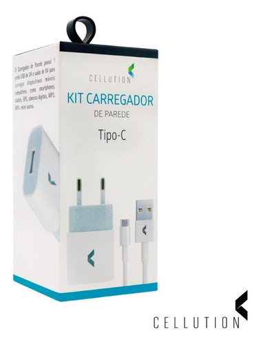 Imagem 1 de 4 de Kit Cabo + Carregador Tipo-c