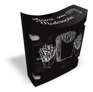 Caixinha Embalagem Batata Frita Salgados Delivery Preto 100u