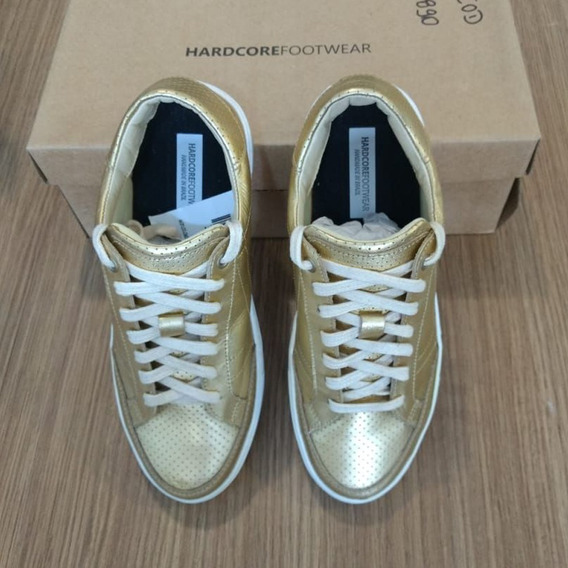 Tenis Feminino Confort Dourado Casual Hardcorefootwear