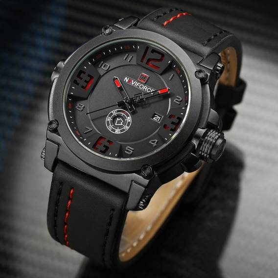 Relógio Masculino Pulseira De Couro Naviforce 9099 Original