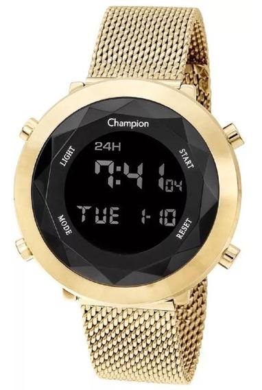 Relógio Feminino Dourado Ouro 18k Champion Digital