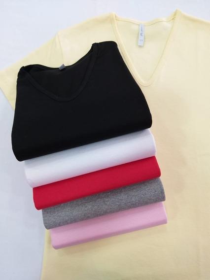 Camiseta / Remera Mujer Escote En V Lisa Algodón M / Corta