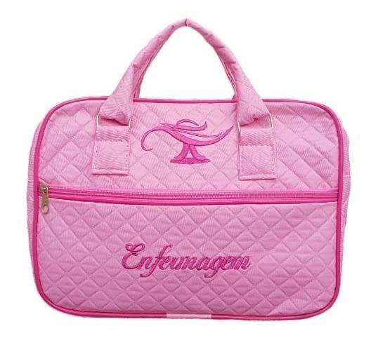 Bolsa Enfermagem Luxo Rosa Com Detalhes Em Pink