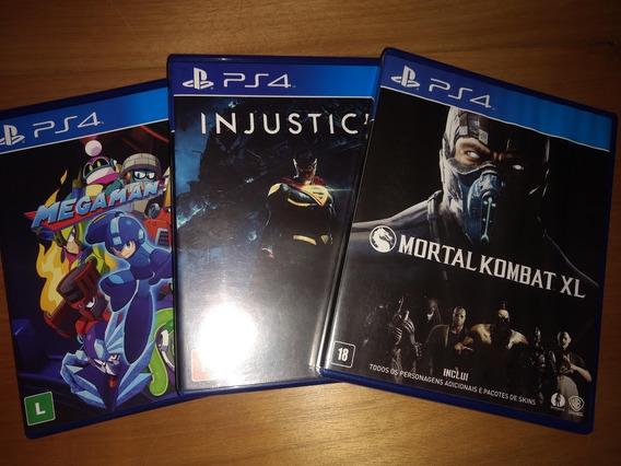 Lote 3 Jogos Ps4, Megaman 11, Mortal Kombat Xl, Injustice 2