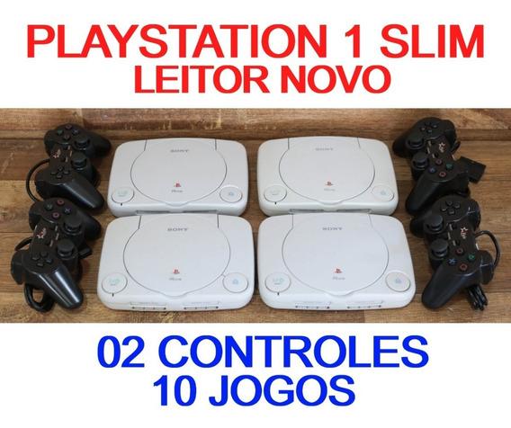 Playstation 1 Slim + 02 Controles + 10 Jogos + Memory C Ps1