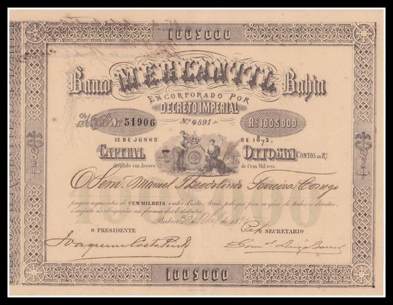 Ação Salvador Banco Mercantil Da Bahia - 1895
