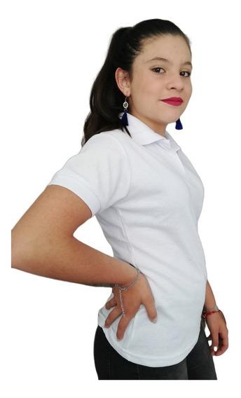 Camiseta Tipo Polo Blanca Dama Mujer