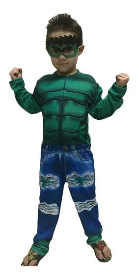 Fantasia Infantil Hulk Super Heróis Com Enchimento Mascara