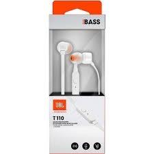 Fone De Ouvido Intra Auricular Com Microfone Jbl T110 Branco