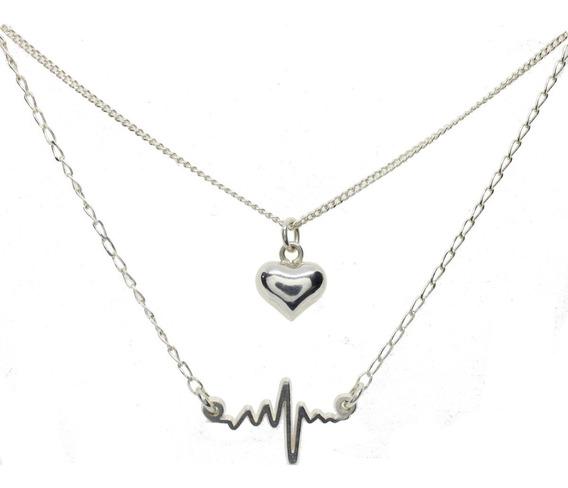 Collar Doble De Plata .925 Regalo Para Dama (corazon)