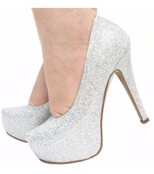 Sapato Scarpin Prata Glitter Brilho Salto Alto Fino Pata