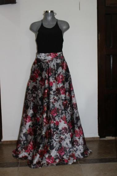 Vestido Largo Cuello Redondo Y Con Escote En La Espalda