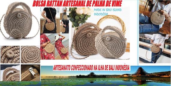 Bolsa Artesanal De Palha Modelo Rattan Feita Em Bali Island