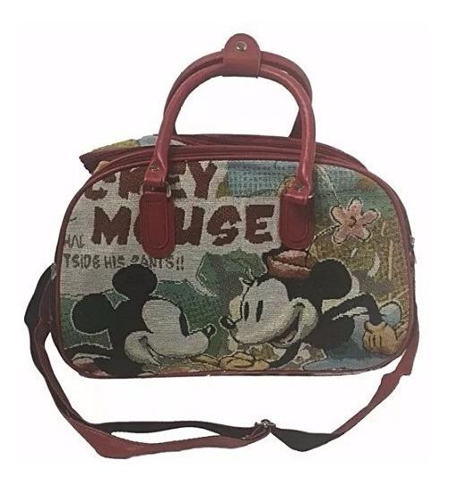 Bolsa Mala Mão Mickey Minnie Colorido Alça Frasqueira Cores