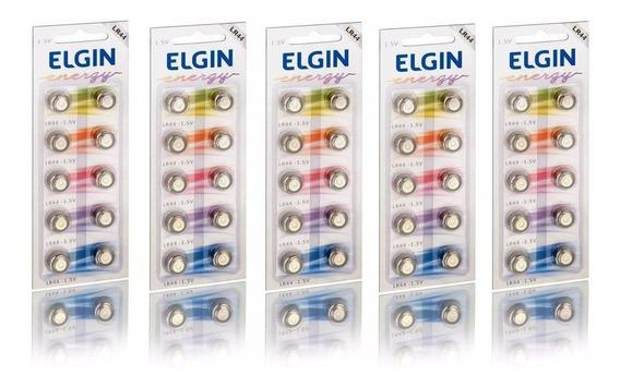 10 Cartelas C/10 Un Bateria Alcalina Energy Lr44 1,5v Elgin