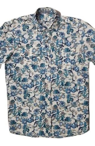 Camisa Floral All Brazil Plus Size Manga Curta 2 Bolsos