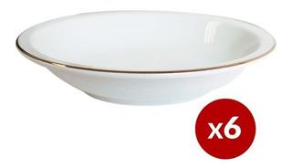 6 Plato Hondo 21cm Borde Dorado Filo Oro Porcelana Tsuji 499
