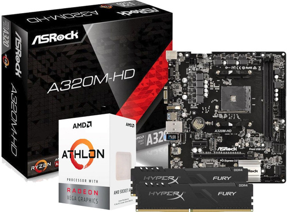 Kit Processador Athlon 3000g A320m-hd Fury 2x 8gb 2666mhz