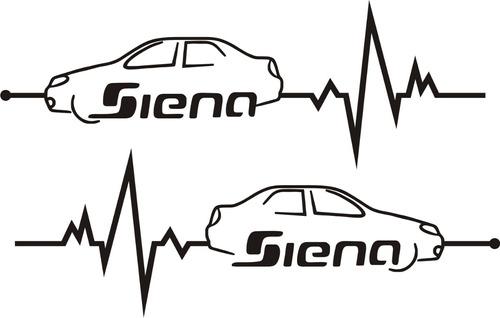 Calco Fiat Siena En Mi Sangre 20 X 7 Cm - Graficastuning