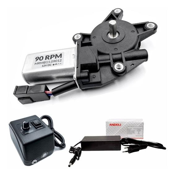 Motor Dc 12v Com Caixa De Redução 90 Rpm + Controlador