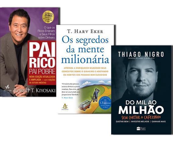Livros Segredos Da Mente+ Do Mil Milhao+ Pai Rico Pai Pobre