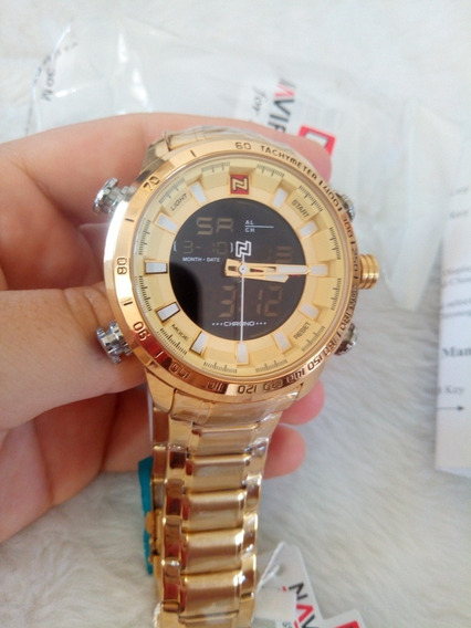 Relógio Dourado Naviforce Super Promoção Super Oferta