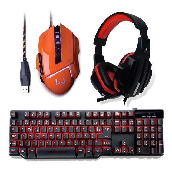 Kit Gamer Teclado Led + Mouse 3200dpi + Fone Headset