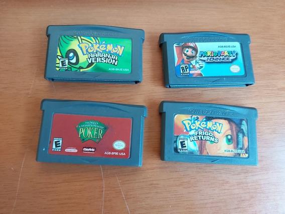 Lote 4 Jogos Gba Pokemon Salva, Mario Party Advance, Poker