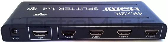 Splitter Hdmi 1x4 1 Entrada 4 Salidas 1.4v 1080 4k C/fuente
