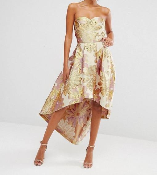 Vestido Inglés De Fiesta Dorado