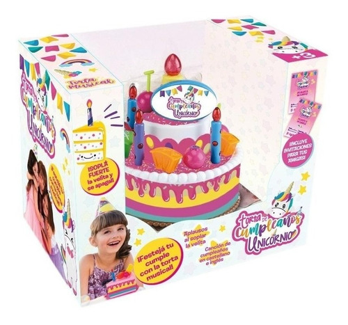 Imagen 1 de 1 de Torta De Cumpleaños Musical Unicornio Chica Bilingue Tv Edu