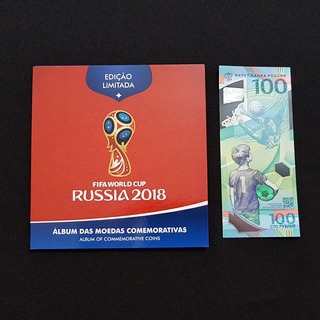 Russia 2018 Copa Fifa Álbum Com As 3 Moedas + 1 Cédula Copa