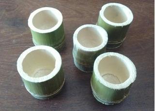 Mini Macetas De Caña Bambu Para Souvenirs Artesanias X 40 Un