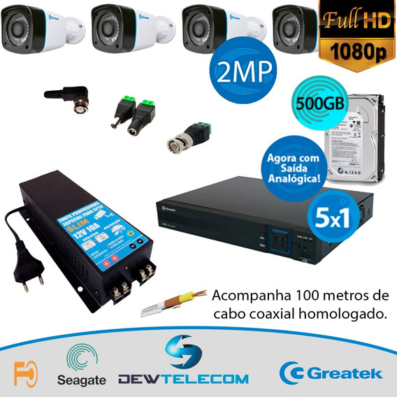 Kit Cftv 4 Cameras Completo Fullhd 1080p