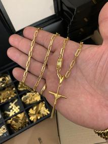 Cordão Cartier 5mm E 70cm +cruz Palito Banhado A Ouro