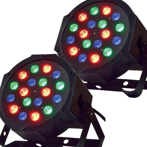 Pack X2 Luz Proton 18 Led Efectos Luces Rgb Audioritmico Dmx Dj Profesional Colores Programable Fiestas Eventos Salon