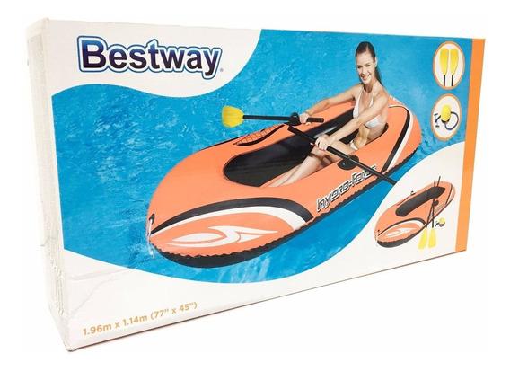 Bote Balsa Inflable 61062 De 197x114cm Con Remos Bestway