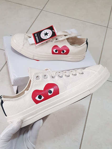 Tenis All Star Converse Play Comme Des Garçons Outfit Branco