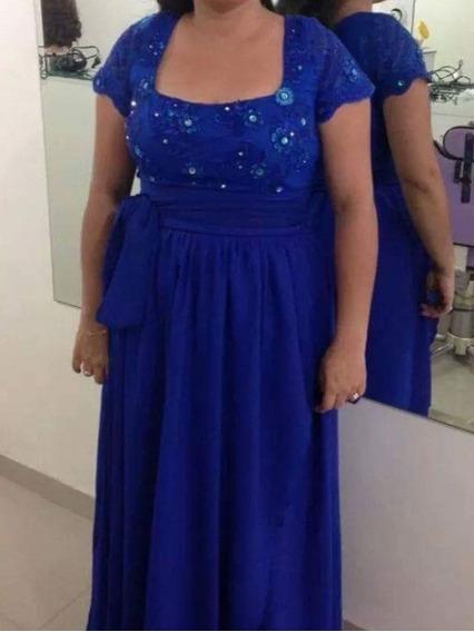 Lindo Vestido ,busto Borado, Azul Para Formatura