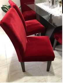 Capa Para Cadeira De Veludo - Kit 6 Peças