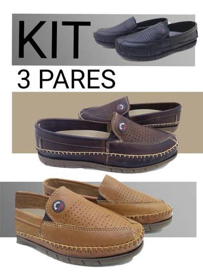 Sapatilha Mocassim Masculino Sapato Couro Kit Com 3 Pares