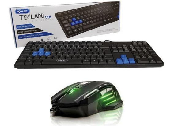 Kit Gamer Mouse 7 Botões 2400 Dpi + Teclado Gamer Teclas Para Jogo Usb