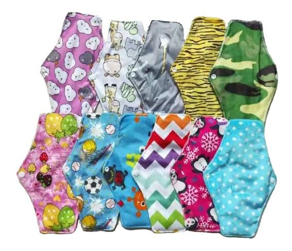 10 Toalla Femenina Menstrual Ecológicas Tela Flujo Regular