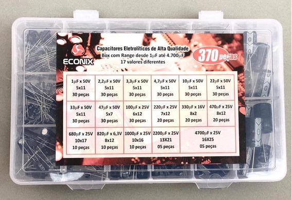 Kit Capacitor Eletrolitico * 370 Pçs * 17 Valores Diferentes