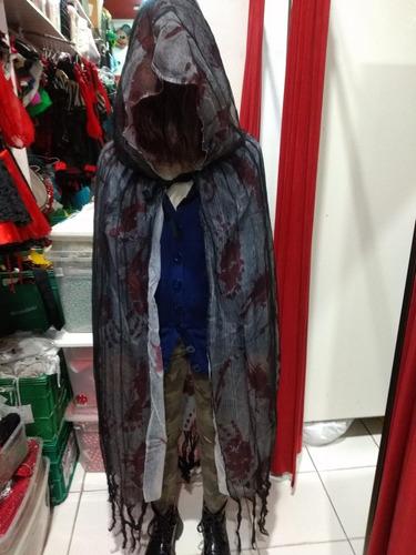 Capa Capucha Terror Negra Halloween Disfraz Cotillon