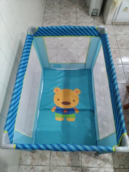 Cercadinho Berço Bebê Voyage Azul Cercado + 570 Bolinhas