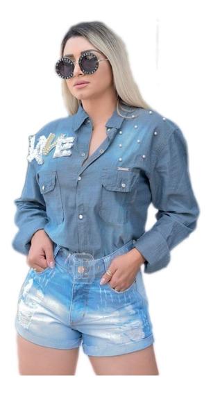 Camisa Blusa Jeans Feminina Festa De Rodeio