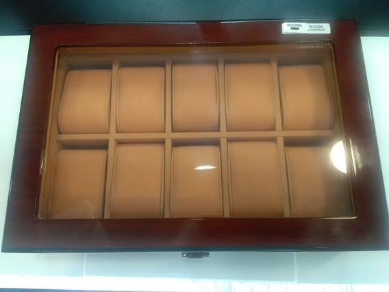 Estuche Relojera De Madera Café Para 10 Piezas Con Ventana